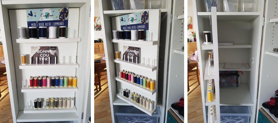 Ouverture de la porte des étagères à bobine
